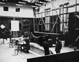 """<p>View during the remodeling of the Palace of Justice in Nuremberg in preparation for the <a href=""""/narrative/9366/en"""">International Military Tribunal</a>. Nuremberg, Germany, 1945.</p>"""