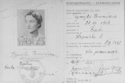 "<p>Document issued by the Regional Agricultural Mercantile Cooperative in Busko-Zdroj certifying that Bronislawa Tymejko (the false identity of <a href=""/narrative/9190/en"">Sophie Schwarzwald</a>'s mother, Laura Schwarzwald) was employed by the cooperative, dated November 1942.</p>"