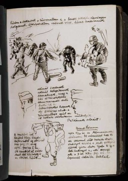 Beifeld album page outlining the labor service's roles in the war effort