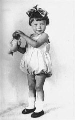 "<p>1936 portrait of two-year-old Mania Halef, a Jewish child, who was later killed during the mass execution at <a href=""/narrative/5337"">Babi Yar</a>.</p>"
