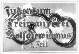 "<p>Propaganda slide entitled ""Jewry, Freemasonry and Bolshevism,"" featuring a poisonous snake with bared fangs. This served as the title slide for Part I of a lecture series produced by ""Der Reichsfuehrer SS, der Chef des Rasse-und Siedlungshauptamtes"" (the Leader of the SS, the Chief of the Race and Settlement Main Office), ca. 1936.</p>"