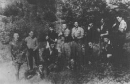 <p>A group of Jewish resisters, members of a fighting organization (Organisation Juive de Combat). Mazamet, France, wartime.</p>