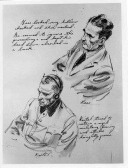 "<p>Courtroom sketch drawn during the International Military Tribunal by American artist Edward Vebell. The drawing depicts defendants Rudolf Hess and Wilhelm Keitel, with this accompanying text: ""Hess looked very hollow cheeked and thin necked. He seemed to ignore the proceedings and kept his head down, absorbed in a book. Keitel tried to retain a rigid military bearing and strike haughty poses."" Nuremberg, Germany, 1945.</p>"