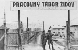 <p>Entrance to the Novaky labor camp in Slovakia, 1942–44.</p>