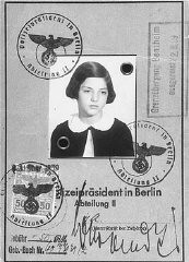 "<p>Passport issued to Gertrud Gerda Levy, who left Germany in August 1939 on a Children's Transport (<a href=""/narrative/4604/en"">Kindertransport</a>) to Great Britain. Berlin, Germany, August 23, 1939.</p>"