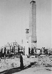 Vista de un crematorio del campo de Majdanek después de la liberación.