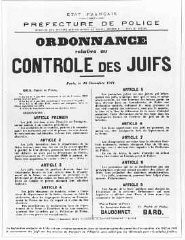 "<p>French government announcement concerning antisemitic legislation. <a href=""/narrative/6033/en"">Paris</a>, France, December 10, 1941.</p>"