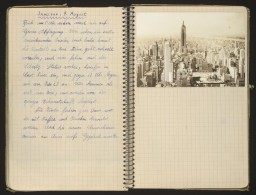 "<p>Hans Vogel and his family fled <a href=""/narrative/6033"">Paris</a> following the <a href=""/narrative/3425"">German invasion</a>. They eventually received <a href=""/narrative/10961"">papers</a> allowing them to immigrate to the <a href=""/narrative/12009"">United States</a>. During this time, Hans kept a <a href=""/narrative/11517"">diary</a> that contains postcards, hand-drawn maps, and other illustrations of their flight. This page describes arriving in New York. </p>