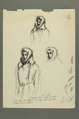 "<div class=""show-data"">""Portrait of Masha Rolnik, Leibisch concentration camp, 1944"" by Esther Lurie. This image shows three sketches of Masha Rolnikaite (Rolnik) drawn by <a href=""/narrative/58633"">Esther Lurie</a>, in approximately 1965, for the cover of Masha's memoir, <em>Ikh muz dertseyin</em> [I have to tell]. They reproduce the drawing of Masha that Esther made when both were prisoners in a <a href=""/narrative/3384"">forced-labor</a> camp.</div>