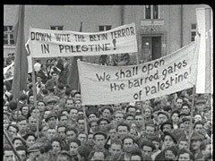 "<p>In July 1947, 4,500 Jewish refugees left displaced persons camps in Germany and boarded the ""Exodus 1947"" in France. They attempted to sail to Palestine without, however, having British permission to land. The British intercepted the ship and forcibly returned the refugees to Germany. This footage shows a protest in the Bergen-Belsen displaced persons camp in the British occupation zone of Germany. The protesters denounced British treatment of the ""Exodus 1947"" passengers. The plight of the ""Exodus"" passengers became a symbol of the struggle for unrestricted Jewish immigration to Palestine.</p>"