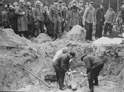 "<p>US troops with the <a href=""/narrative/7977"">82nd Airborne Division</a> look on as Germans are forced to exhume corpses from a mass grave. Wöbbelin, Germany, May 6, 1945.</p>"