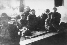 "<p>Jews from Bulgarian-occupied Macedonia who were rounded up and assembled at the Tobacco Monopoly transit camp in Skopje before deportation to the <a href=""/narrative/3819/en"">Treblinka</a> killing center. Skopje, <a href=""/narrative/6153/en"">Yugoslavia</a>, March 1943.</p>