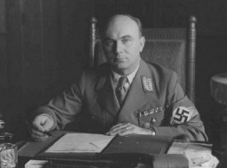 "<p>Arthur Greiser, a leading Nazi Party official in <a href=""/narrative/5616/en"">Danzig</a>. He became the head of the Danzig Senate in 1934. After the beginning of World War II, he became administrator of the <a href=""/narrative/4879/en"">new province</a> known as the <em>Warthegau</em>.</p>"