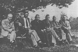 <p>Personnel of T4, the agency created to administer the Nazi Euthanasia Program. Pictured from left to right are: Erich Bauer (chauffeur), Dr. Rudolf Lonauer, Dr. Victor Ratka, Dr. Friedrich Mennecke, Dr. Paul Nitsche,and Dr. Gerhard Wischer.Berlin, Germany, 1939–45.</p>