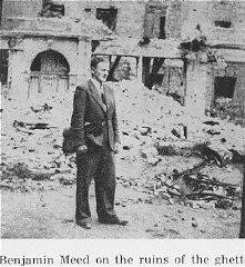<p>While living in hiding on the Aryan side of Warsaw, Benjamin Miedzyrzecki (Ben Meed) returns to the site of the Warsaw ghetto, where he poses among the ruins. Warsaw, Poland, 1944.</p>