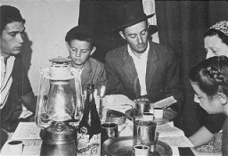 "<p>Jews interned in <a href=""/narrative/26091/en"">Cyprus</a> prepare for Passover with supplies provided by the <a href=""/narrative/5002/en"">American Jewish Joint Distribution Committee</a>. Cyprus, after 1945.</p>"