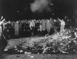 "<p>Books and writings deemed ""un-German"" are <a href=""/narrative/7631"">burned</a> at the Opernplatz (Opera Square). Berlin, Germany, May 10, 1933.</p>"