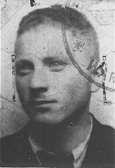 "<p>False identification card photo of Benjamin Miedzyrzecki (<a href=""/narrative/10553/en"">Benjamin Meed</a>) as a member of the Warsaw ghetto underground. Warsaw, Poland, 1943.</p>"