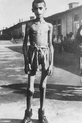 "<p>A 13-year-old orphan, a survivor of the <a href=""/narrative/3880"">Mauthausen</a> concentration camp. Photograph taking following <a href=""/narrative/2317"">liberation</a> of the camp. Austria, May 1945.</p>"