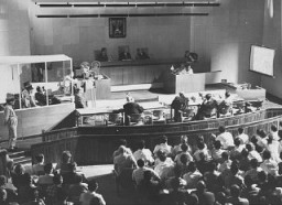 "<p>Film evidence is shown during the <a href=""/narrative/3359/en"">trial of Adolf Eichmann</a>. Jerusalem, Israel, June 8, 1961.</p>"