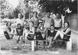 Group portrait of Jewish friends in Hungary