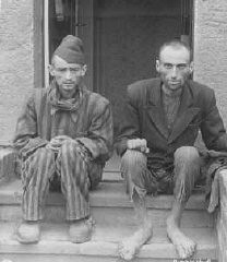 <p>Two survivors of the Dora-Mittelbau concentration camp, located near Nordhausen. Germany, April 14, 1945.</p>