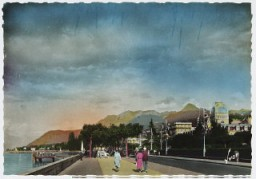 "<p>Postcard showing Evian-les-Bains, a French resort of Evian on Lake Geneva,  at the time of the 1938 <a href=""/narrative/6748/en"">Evian conference</a> on <a href=""/narrative/2419/en"">refugees</a>.</p>"
