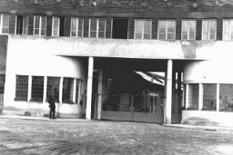 "<p>View of the entrance to <a href=""/narrative/7526"">Oskar Schindler</a>'s enamel works in Zablocie, a suburb of Krakow. Poland, 1939-1944.</p>"