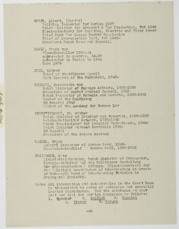<p>Fifth page of a list of defendants at the International Military Tribunal at Nuremberg. This material appears in a mimeographed program booklet distributed at the IMT. This page includes: Albert Speer, Franz von Papen, Alfred Jodl, Konstantin von Neurath, Artur Seyss-Inquart, Erich Raeder, and Hans Fritzsche, along with brief biographical information for each.</p>