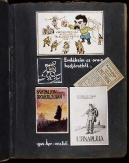 "<p>Collage entitled: ""Mementos from the Russian campaign,"" which includes a watercolor of Stalin with the caption: 'Russia a meeting place for foreigners 1942-43' (top); a commuter train ticket issued to military personnel who carried the special SAS [Hurry, Immediate, Urgent] draft notice (middle, right); a pseudo travel brochure cover entitled 'Spend your summer vacation in merry Russia' (bottom, left); and the original design for the cover of the labor company's journal entitled 'Hungarian Royal 109/13 Labor Company Travel Journal' (bottom, right). [Photograph #57943]</p>"