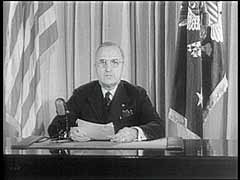 <p>World War II began with the German invasion of Poland in September 1939 and ended in Allied victory in Europe with the German surrender in May 1945. May 8 was proclaimed VE (Victory in Europe) Day. In this footage, United States president Harry S. Truman proclaims victory in Europe and promises to continue the war in the pacific until the unconditional surrender of Japan.</p>