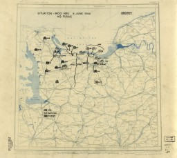 """<p>Dated June 6, 1944, this US Twelfth Army Group situation map shows the presumed locations of Allied and Axis forces on <a href=""""/narrative/2899/en"""">D-Day</a>, when Allied troops landed on the beaches of Normandy. Drafted during the war, the content in this historical map reflects the information that operational commander, General Omar N. Bradley, would have had on hand at the time.</p>"""