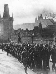 <p>German occupation troops march through the streets of Prague. Czechoslovakia, March 15, 1939.</p>