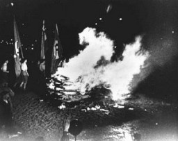 "<p>At Berlin's Opernplatz, the burning of books and other printed materials considered ""un-German"" by members of the SA and students from universities and colleges in Berlin. Germany, May 10, 1933.</p>"
