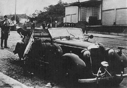 "<p>The damaged car of SS General <a href=""/narrative/10812"">Reinhard Heydrich</a> after an attack by Czech agents working for the British. Prague, <a href=""/narrative/7295"">Czechoslovakia</a>, May 27, 1942.</p>"