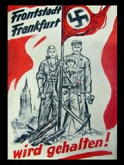 "<p>This poster from 1945 shows an embattled German family proclaiming, ""Frontline City Frankfurt will be held!"" A <em>Frontstadt</em> was a city Hitler declared must be defended against Allied attack at all costs. In the final months of the war, <a href=""/narrative/88/en"">propaganda efforts</a> were directed at rallying the populace for a final defense of the country.</p>"