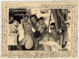 """<p>Photograph showing Helene Reik's family members and friends gathered in March 1941 in Brazil.</p> <p>After her deportation to the Theresienstadt ghetto in Czechoslovakia, Helene yearned to record what was happening to her. This photograph was sent to Helene, who used it as paper for her diary in <a href=""""/narrative/5386/en"""">Theresienstadt</a>. Helene's makeshift diary offers wistful memories of her husband and parents who died before the war, loving thoughts of her family who had left Europe in 1939, and a firsthand account of the illness and hospitalization that ultimately led to her death.</p> <p>Because resources were scarce in the Theresienstadt ghetto, Helene recorded her thoughts, recollections, and diary entries in the margins and on the backs of family pictures that she had brought with her, as well as postcards and letters she received while in the ghetto.</p>"""