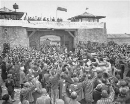 <p>Survivors of Mauthausen cheer American soldiers as they pass through the main gate of the camp. The photograph was taken several days after the liberation of the camp. Mauthausen, Austria, May 9, 1945.</p>