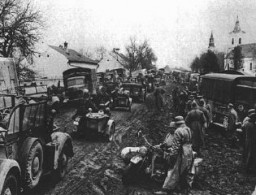 "<p>SS troops advance during the invasion of <a href=""/narrative/4964/en"">Greece</a>. The <a href=""/narrative/3354/en"">invasion of the Balkans</a> began in April 1941. Greece, wartime.</p>"