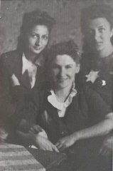 "<p>Photograph of ""The Three Musketeers"" —three school friends in the <a href=""/narrative/2152/en"">Lodz</a> ghetto. Left: Lola Tenenbaum Rapoport, who survived with her husband. Center: Niusia Friedman, who was killed in <a href=""/narrative/3673/en"">Auschwitz</a>. Lola sent this photo to <a href=""/narrative/10214/en"">Blanka Rothschild</a> from Australia. Blanka (right) says ""It's my only memento of the ghetto.""</p>