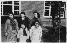 """<p>A group of Jewish girls hiding, under <a href=""""/narrative/7711"""">assumed identities</a>, in a convent. Ruiselede, Belgium, 1943-44.</p>"""