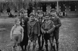 "<p>Jewish refugee boys at the Maison des Pupilles de la Nation children's home in Aspet. These children reached the home through the efforts of the Children's Aid Society (Oeuvre de Secours aux Enfants; OSE) and the <a href=""/narrative/4339/en"">American Friends Service Committee</a>. Aspet, France, ca. 1942.</p>"