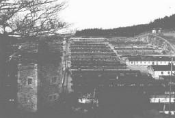 Vista del campo de concentración de Flossenbürg después de su liberación por parte de las fuerzas estadounidenses.