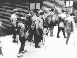 """<p><a href=""""/narrative/10135"""">Soviet prisoners of war</a>, survivors of the Majdanek camp, at the camp's liberation. Poland, July 1944.</p> <p><span style=""""font-weight: 400;"""">Second only to the Jews, Soviet prisoners of war were the largest group of victims of </span><a href=""""https://encyclopedia.ushmm.org/narrative/10962/en""""><span style=""""font-weight: 400;"""">Nazi racial policy</span></a><span style=""""font-weight: 400;"""">.</span></p>"""