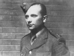 "<p>Jozef Gabčik was a Slovak member of the Czechoslovak armed forces who trained in Great Britain and parachuted into German-occupied Czech territory to assassinate <a href=""/narrative/10781/en"">Reinhard Heydrich</a>. As Heydrich traveled on a familiar route to the airport to fly to Hitler's headquarters for a meeting, two agents succeeded in rolling a modified British anti-tank grenade under his car.  The blast itself did not cause immediate death. Heydrich died a little over a week later. The official autopsy report determined that the cause of death was blood poisoning due to bacterial infections affecting the liver, kidney, and heart tissue. In retaliation for the attack, the Germans unleashed a wave of terror against the Czechs. For example, they destroyed the Czech village of <a href=""/narrative/11788/en"">Lidice</a>, shooting all the men in the village and deporting most of the women and children to camps in Germany.</p>"