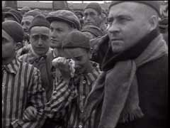 "<p>US forces liberated the Dachau concentration camp in Germany in April 1945. Here, survivors of the camp stand during the singing of ""Hatikva"" (""Hope"") before Rabbi David Eichhoren, a US army chaplain, leads one of the first Jewish prayer services after liberation.</p>"