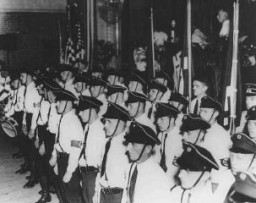 <p>A ceremony of the pro-Nazi German American Bund. Kenosha, Wisconsin, United States, October 16, 1937.</p>