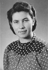 "<p>Hildegard Kusserow, a <a href=""/narrative/5540/en"">Jehovah's Witness</a>, was imprisoned for four years in several concentration camps including Ravensbrück. Germany, date uncertain.</p>"