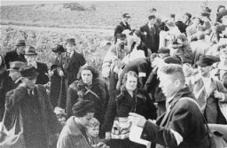 "<p>Dutch Jews from Hooghalen during deportation to the <a href=""/narrative/4469/en"">Westerbork</a> transit camp. The Netherlands, October 1942.</p>"