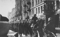 "<p>German troops march into <a href=""/narrative/6033"">Paris</a>. <a href=""/narrative/4997"">France</a>, June 1940.</p>"
